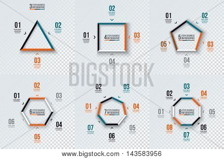 Vector geometric shapes for infographic. Template for cycle diagram, graph, presentation and chart. Business concept with 3, 4, 5, 6, 7 and 8 options, parts, steps. Transparent background