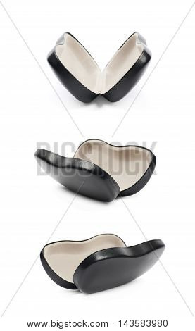 Black leather protection case box for glasses isolated over the white background, set of three different foreshortenings