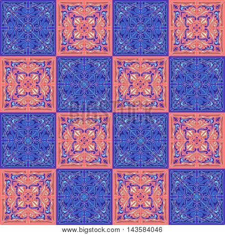 oriental pattern - mosaic tiles of blue white and terracotta colors and ornament