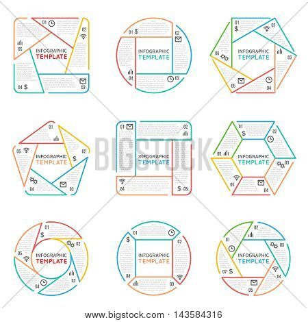 Thin line infographics vector elements for business presentation with options parts steps and processes. Illustration charts in form hexagon, pentagon and square