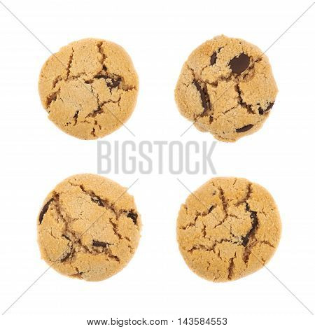 Single soft chewy chocolate chip cookie isolated over the white background, set of four different foreshortenings