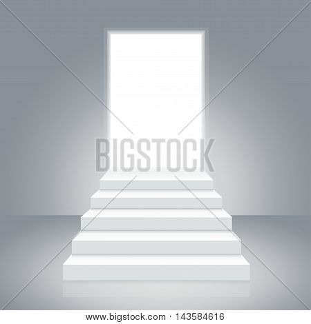White Staircase to Open Door. Concept Of Hope. Vector illustration
