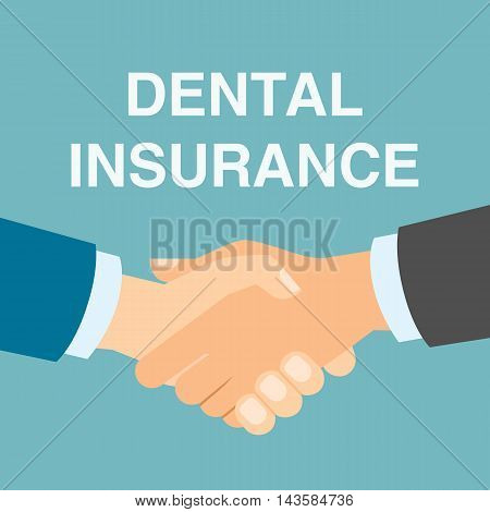 Dental insurance handshake. Concept of protection from dental illness like caries. Healthcare insurance.