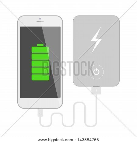 Smartphone with powerbank. Phone charging with portable powerbank. Isolated gadgets on white background.