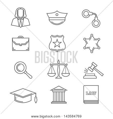 Criminal police law and justice vector thin line icons. Handcuff and scale in linear style, court and gavel illustration