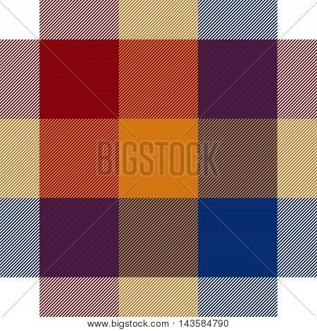 Red orange blue white seamless check plaid. Vector illustration. EPS10.