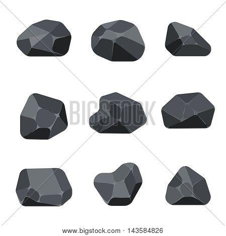 Polygonal stones rock graphite coal elements for computer and app games. Structure angular quartz mineral, vector illustration