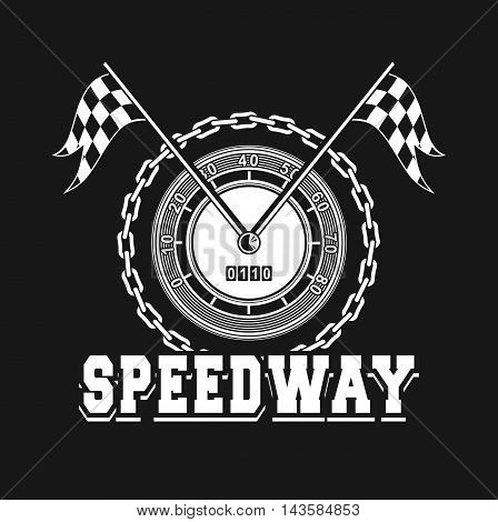 vector illustration emblem Racing speedometer checkered flags