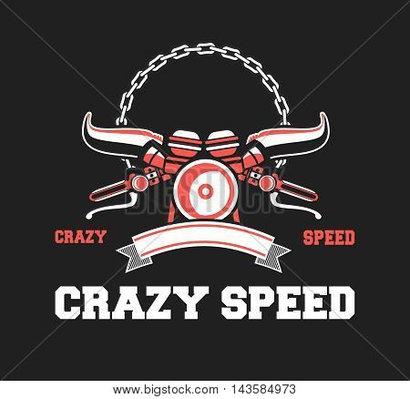 vector illustration emblem Racing a motorcycle on a black background