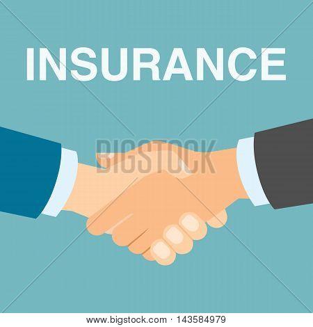 Insurance concept handshake. All kinds of insurance like health, medical, travel or car.