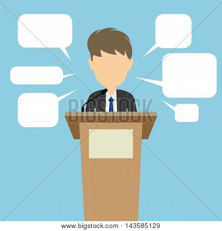 Politician with speech bubbles. Concept of debates or president election. Blank template face with speech bubbles.