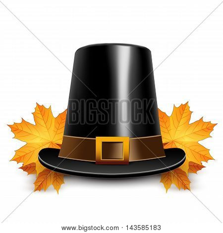 Pilgrims hats for thanksgiving on white background.