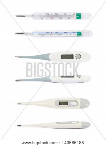 Three kinds of thermometer isolated over the white background, each in two different variations