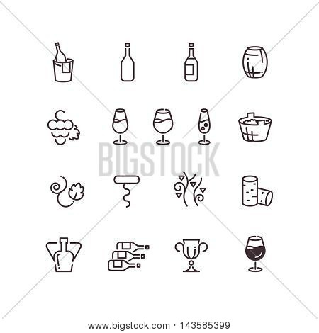 Wine sommelier winery thin line vector icons. Linear glass goblet and bottle illustration
