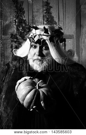 Old Man In Costume Of Wizard