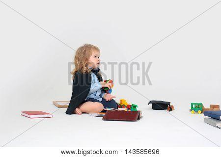 Little Boy Playing School