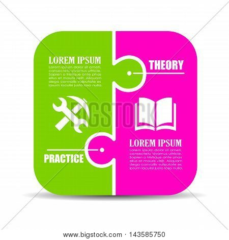 Theory vs practice visual diagram template vector illustration isolated on white background