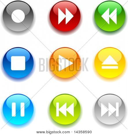 Beautiful shiny buttons. Vector illustration.