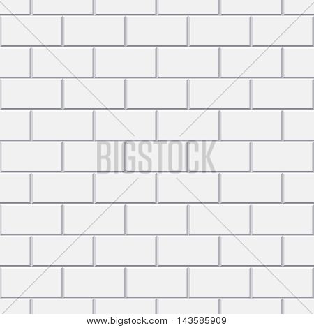 Vector white brick seamless pattern for bathroom or kitchen