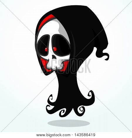 Vector cartoon illustration of spooky Halloween death skeleton character mascot in black hood isolated on white background
