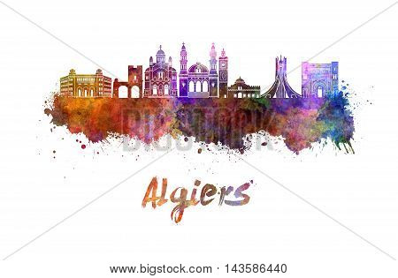 Algiers skyline in watercolor splatters with clipping path