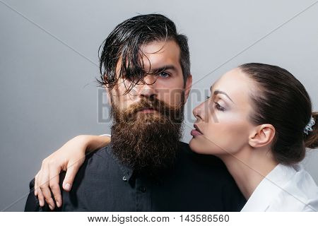 Young Stylish Sexy Couple In Studio