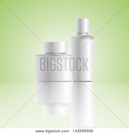 Vector Blank Cosmetic Container For Cream Powder Or Gel Green Bg Eps 10