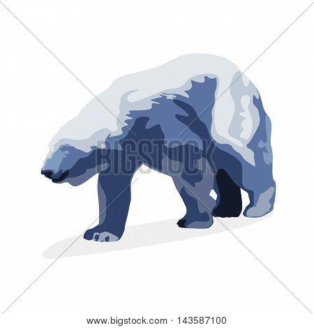 Polar bear vector isolated illustration. Flat drawing