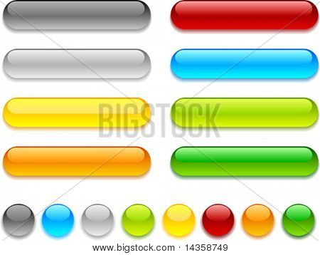 Web shiny buttons. Vector illustration.