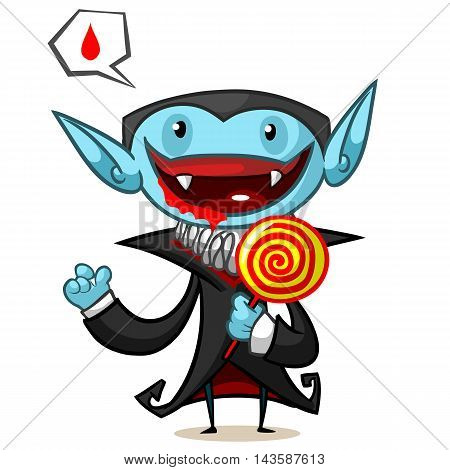 Halloween vector illustration of cartoon vampire with lollypop on white background