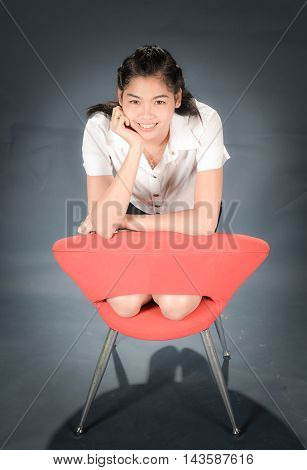 The beautiful graduate happy girl in Thailand