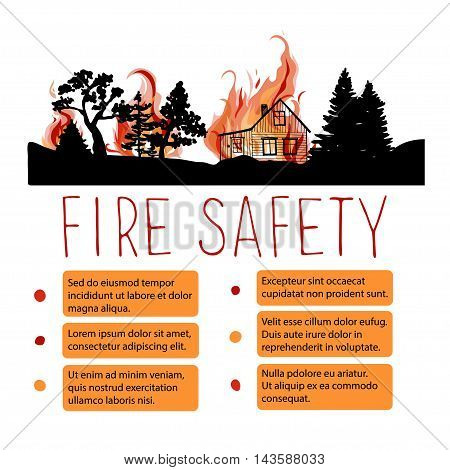 Template of safety from wildfire vector placard. Headline with silhouettes of trees and wooden house on a background of fire.