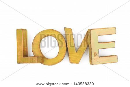 Word Love made of colored with paint wooden letters, composition isolated over the white background
