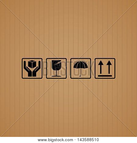 Black fragile symbol set with brown cardboard texture.