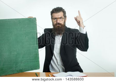 Bearded Man Professor Glasses With Blackboard