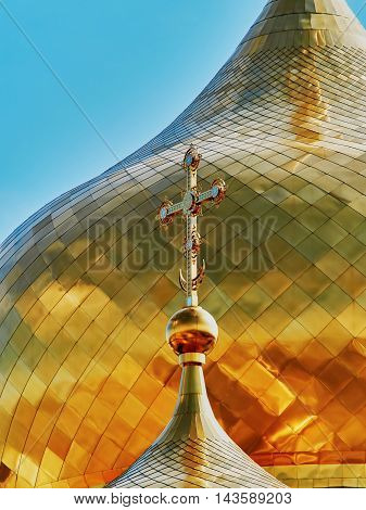 Сross on the dome of the Orthodox Church