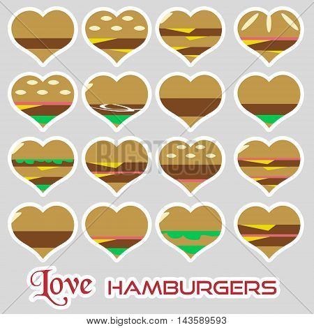 Colorful Hearts Hamburgers Styles Simple Stickers Icons Eps10