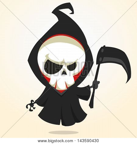 Vector cartoon illustration of spooky Halloween death with scythe skeleton character icon isolated on white background