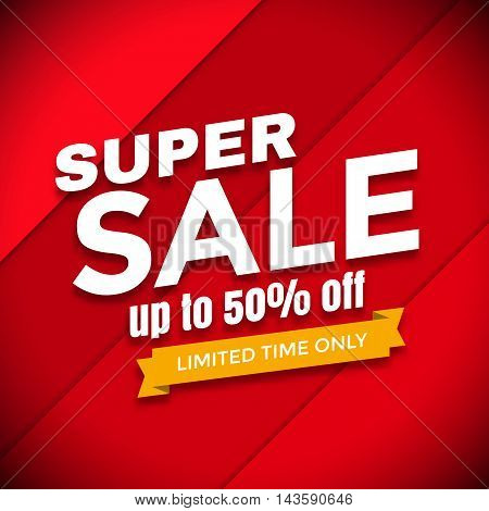 Super sale design, Sale banner, Red Sale graphic illustration
