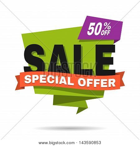Special offer sale banner. Discount price label. Symbol of promotion and advertising. Vector illustration isolated on white background.