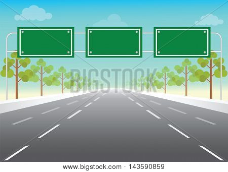 Blank road sign on highway Add your own text conceptual flat design vector illustration.