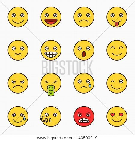 Emoticons set, yellow website emoticons with outline, Emoji icons, Emoticons faces, Isolated emoticons on white background vector illustration