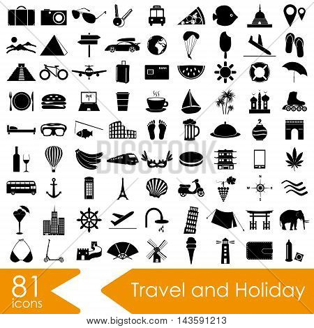 Travel And Holiday Big Set Of Vector Icons Eps10