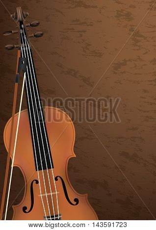 Violin, Musical Instrument Design Realistic Style And A4 Background Poster Music For Commercial Vect