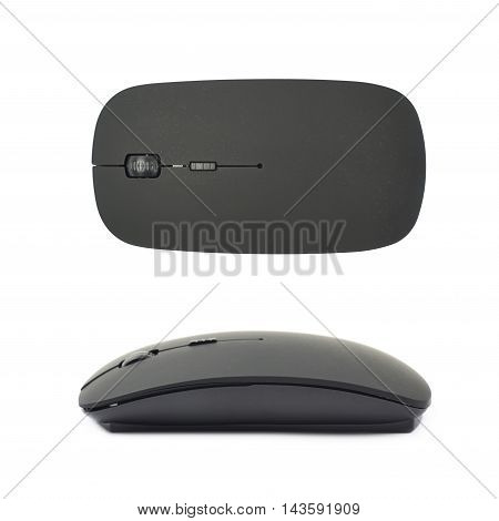 Black plastic wireless computer mouse controller isolated over the white background, set of two different foreshortenings