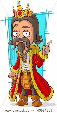 A vector illustration of cartoon bearded king with gold crown