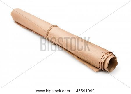 Roll of used brown wrapping paper isolated on white