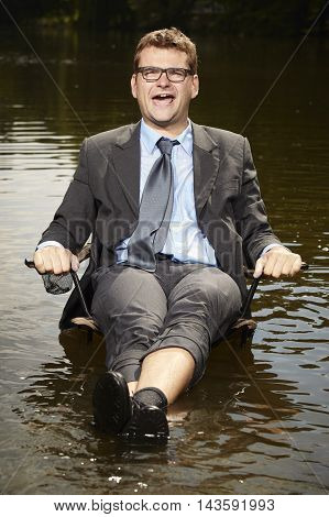 Good businessman in suit relaxing after burning out