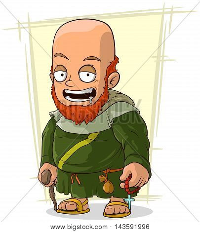 A vector illustration of cartoon bearded monk in robe