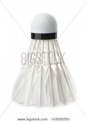 White badminton feather shuttlecock isolated on white